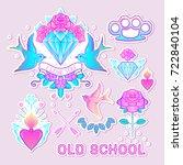 old school tattoo set. classic... | Shutterstock .eps vector #722840104