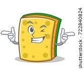 wink sponge cartoon character...   Shutterstock .eps vector #722840824