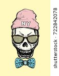 fashion skull with glasses bow... | Shutterstock .eps vector #722842078
