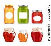 vector fruit jam jar icon set.... | Shutterstock .eps vector #722842540