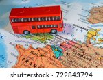 red bus on the map of united... | Shutterstock . vector #722843794