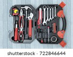 top view of toolbox with tools... | Shutterstock . vector #722846644