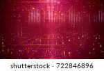 Mesmerizing 3d rendering of a step forward technology cyberspace passage through a time portal with a grid of squares. The background is purple. It has a lot of shining spotlights and rays.