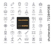 line icons set. halloween pack. ... | Shutterstock .eps vector #722849383