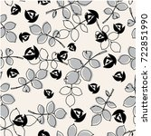 vector black and white floral...   Shutterstock .eps vector #722851990
