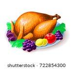 vector illustration of roasted... | Shutterstock .eps vector #722854300