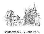 vector sketch of notre dame de...   Shutterstock .eps vector #722854978