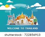 thailand landmark global travel ... | Shutterstock .eps vector #722856913