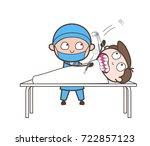 cartoon dentist doing tooth... | Shutterstock .eps vector #722857123