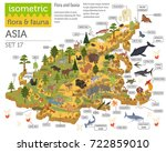 isometric 3d asian flora and... | Shutterstock .eps vector #722859010