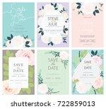 wedding invitation card set... | Shutterstock .eps vector #722859013