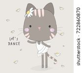 cute cat dance | Shutterstock .eps vector #722860870