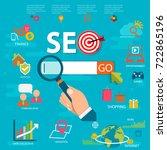 flat illustration web analytics ... | Shutterstock .eps vector #722865196