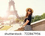 portrait of young stylish woman ... | Shutterstock . vector #722867956