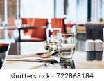 two empty glasses set with... | Shutterstock . vector #722868184