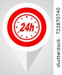 24h vector icon. white and red... | Shutterstock .eps vector #722870740