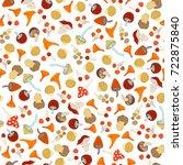 vector seamless mushroom... | Shutterstock .eps vector #722875840