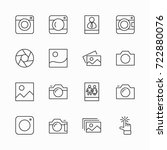 set of cameras and photo ... | Shutterstock .eps vector #722880076