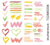 set of chalk vector textures.... | Shutterstock .eps vector #722880208