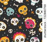day of the dead. dia de los... | Shutterstock .eps vector #722880700