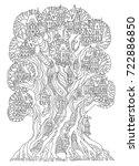 fairy tale oak tree with castle ...   Shutterstock .eps vector #722886850