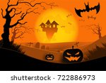 halloween card in paper cut... | Shutterstock .eps vector #722886973