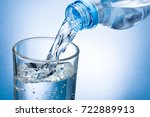 pouring water from bottle into... | Shutterstock . vector #722889913