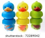 three rubber duckys - stock photo