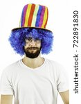 crazy looking guy with a blue... | Shutterstock . vector #722891830