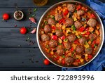 meatballs in tomato sauce and... | Shutterstock . vector #722893996