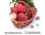 red bulgarian pepper in a... | Shutterstock . vector #722895634