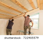 worker working on a wooden... | Shutterstock . vector #722905579