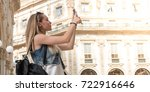pretty tourist teenager taking... | Shutterstock . vector #722916646