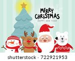 christmas with cute santa ... | Shutterstock .eps vector #722921953