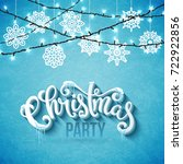 christmas party poster with... | Shutterstock . vector #722922856
