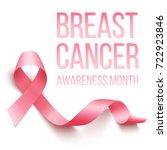 realistic pink ribbon  breast... | Shutterstock . vector #722923846