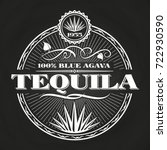 Stock vector vintage tequila banner design on chalkboard poster alcohol vector illustration 722930590