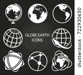globe earth icons collection on ... | Shutterstock .eps vector #722930650