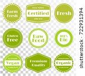 vector organic labels  bio... | Shutterstock .eps vector #722931394