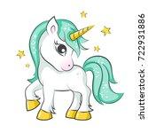 cute magical unicorn. vector... | Shutterstock .eps vector #722931886