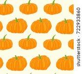hand drawn orange pumpkin... | Shutterstock .eps vector #722933860