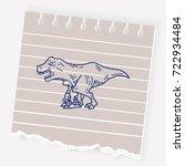 tyrannosaurus dinosaur doodle | Shutterstock .eps vector #722934484