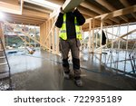low section of male carpenter...   Shutterstock . vector #722935189