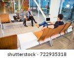 passengers using technologies... | Shutterstock . vector #722935318