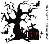 halloween tree vector. | Shutterstock .eps vector #722935789