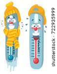 cold hot cartoon thermometer | Shutterstock .eps vector #722935999