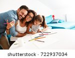 father and mother teach... | Shutterstock . vector #722937034