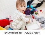 cute baby girl in pajamas...   Shutterstock . vector #722937094