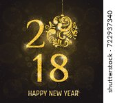 2018 happy new year holiday... | Shutterstock . vector #722937340