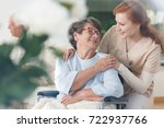 old lady in glasses sitting in... | Shutterstock . vector #722937766